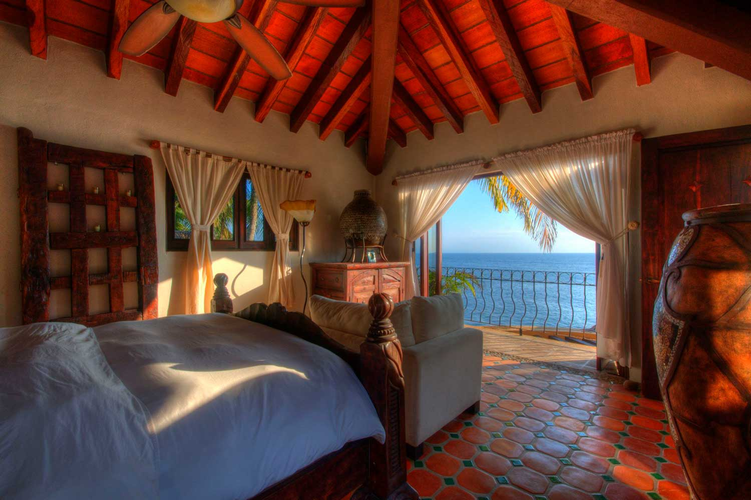 View to ocean and beach from a villa
