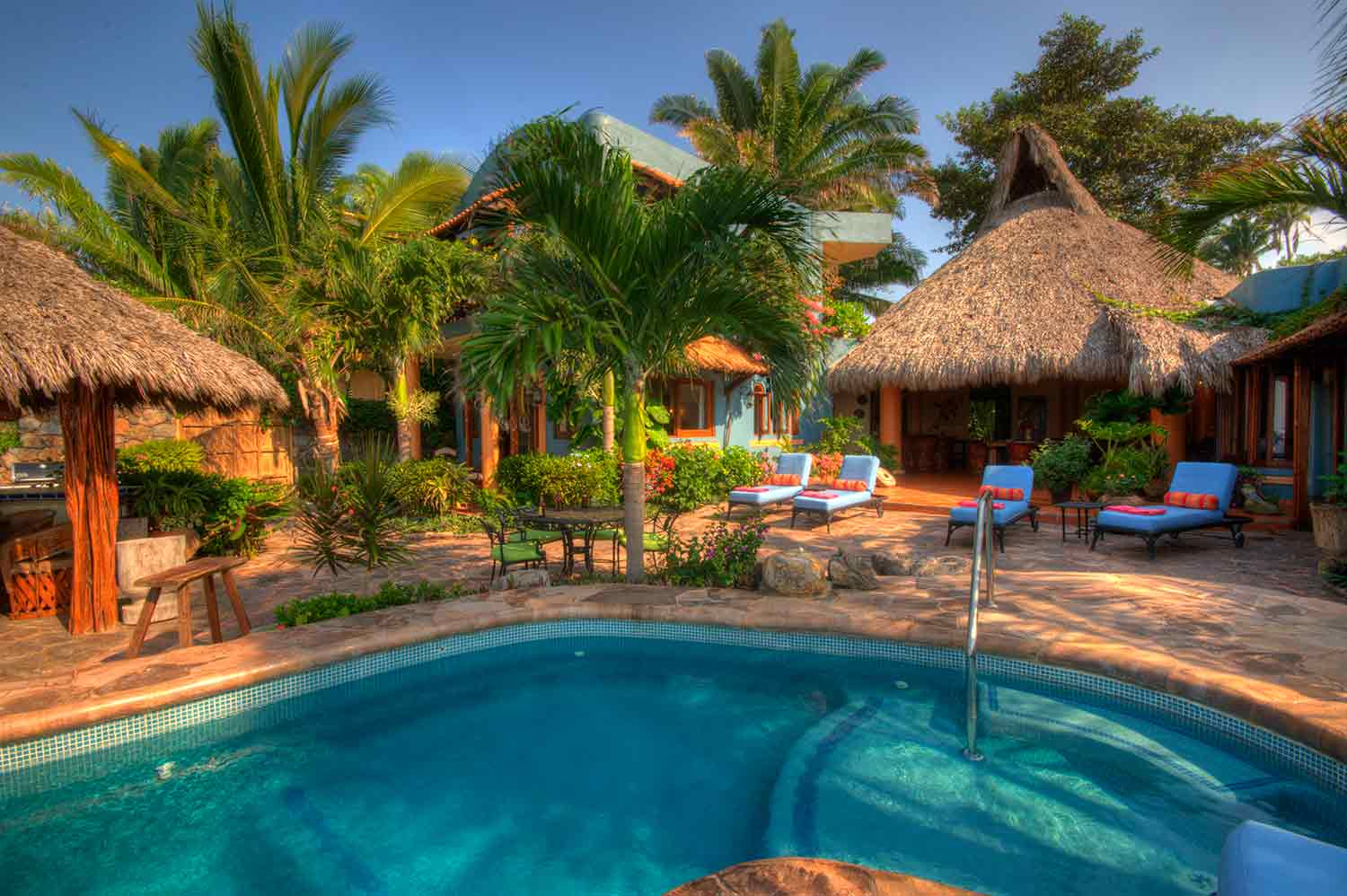 Palapa style villa with pool