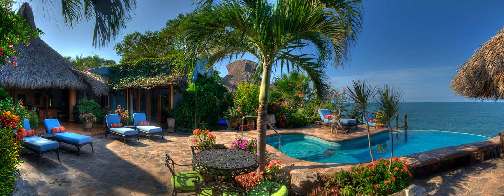 Luxury vacation villa with large terrace , private pool and oceanfront