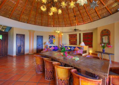 Inside living area under a palapa